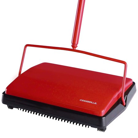 Casabella Carpet Sweeper - 11 Inch Wide Lightweight Floor Cleaner - Red
