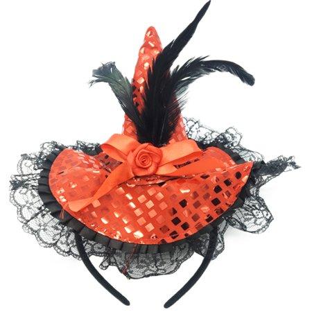 Unisex Make-up Pumpkin Costume Props Hat Sequined Witch Cap Clip for Halloween (Halloween Makeup Tutorial Pumpkin)