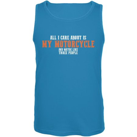 Sarcastic Care About My Motorcycle Turquoise Adult Tank Top (Turquoise Tank Top)