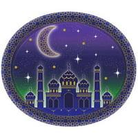 Ramadan 'Eid Mubarak' Extra Large Oval Paper Plates (8ct)