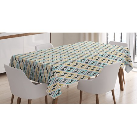 Enjoyable Modern Tablecloth Geometric Funk Art Style Unusual Forms With Continuous Leaf Hexagon Motif Rectangular Table Cover For Dining Room Kitchen 60 X 84 Pabps2019 Chair Design Images Pabps2019Com