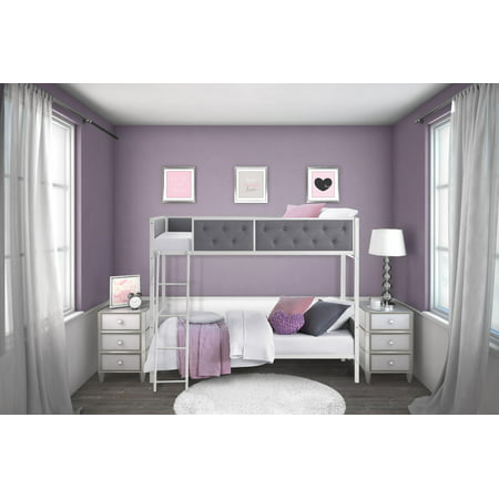 Chesterfield Upholstered Twin Over Twin Metal Bunk Bed