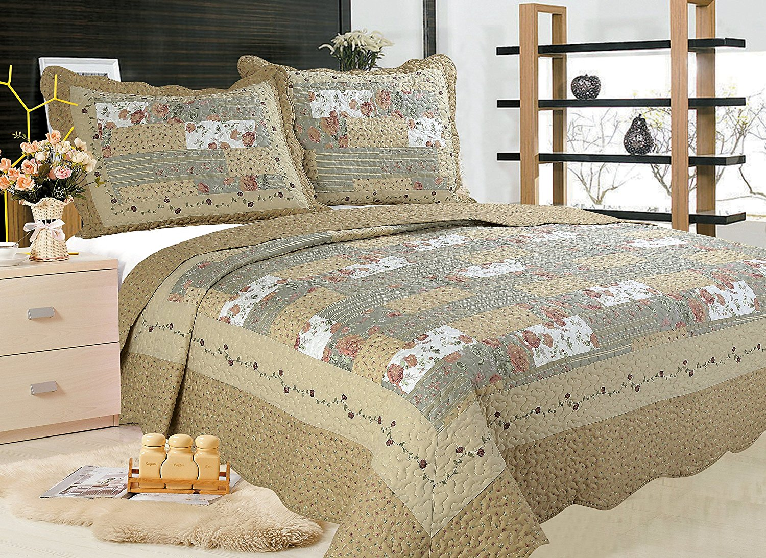 all for you 3pc reversible quilt set bedspread and coverlet with patchwork prints