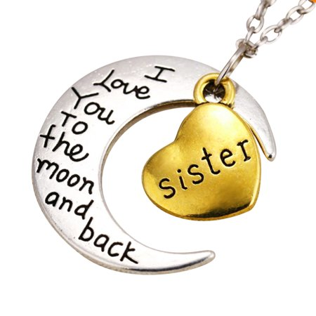 Art Attack Memory Of Big Little Middle Sisters Love You To The Moon   Back Memorial Pendant Child Charm Necklace