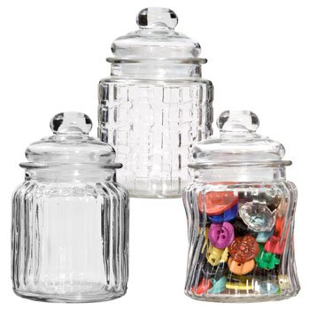 Glass Candy Jars with Tight-Sealing Lids. 3 STYLES PER OR...