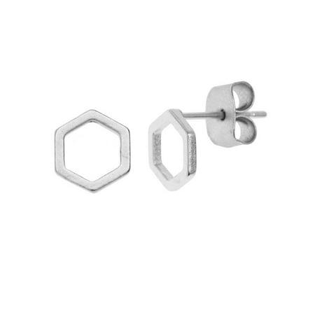 Earnut Earring Posts (Earring Posts, Open Hexagon with Earnuts 7mm, 1 Pair, Matte Silver Toned )