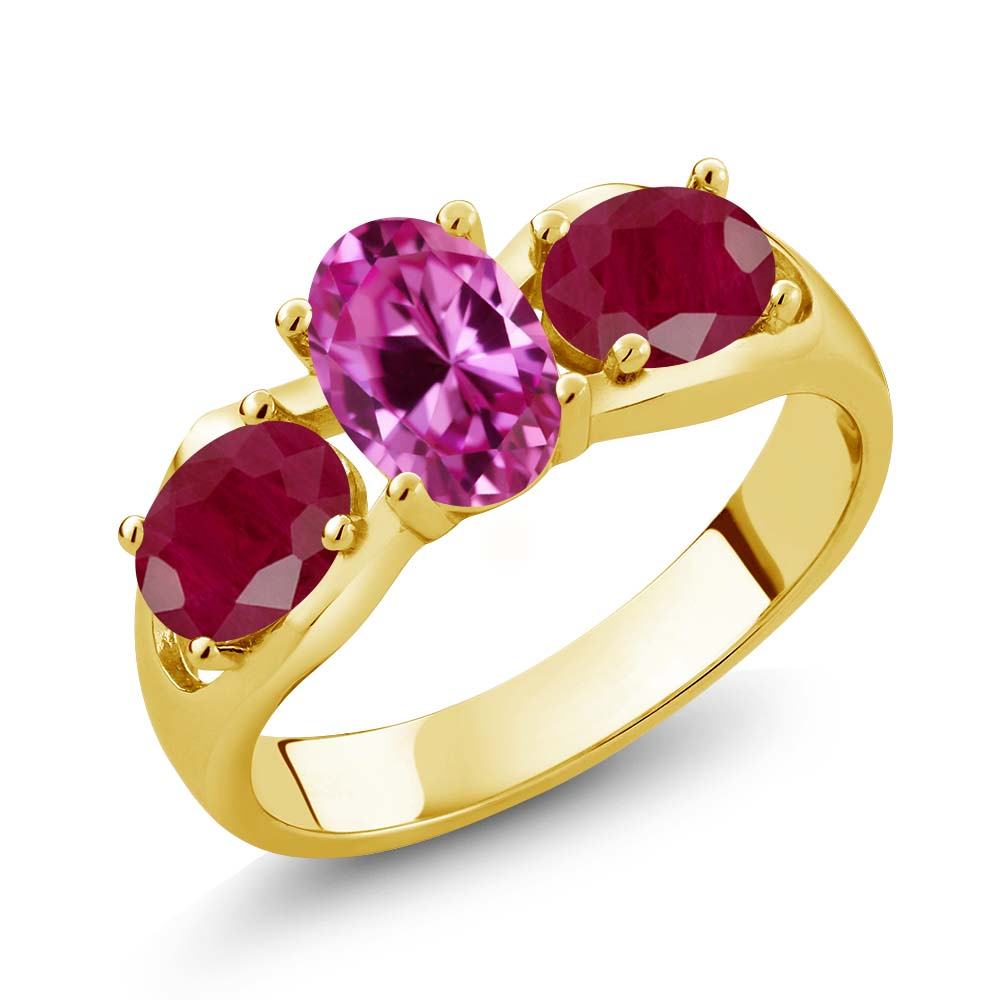 2.10 Ct Oval Pink Created Sapphire Red Ruby 14K Yellow Gold Ring by