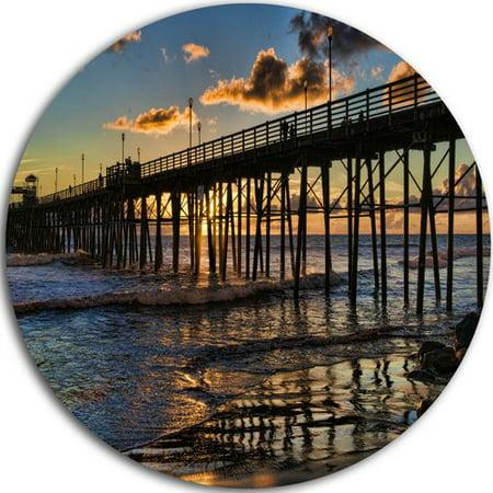 Design Art Pacific Ocean Sunset Oceanside Pier Photographic Print On Metal