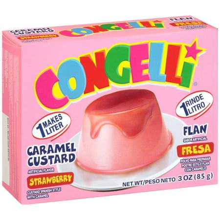 - (5 Pack) Con-Gelliî Strawberry Caramel Custard Flan 3 oz. Box