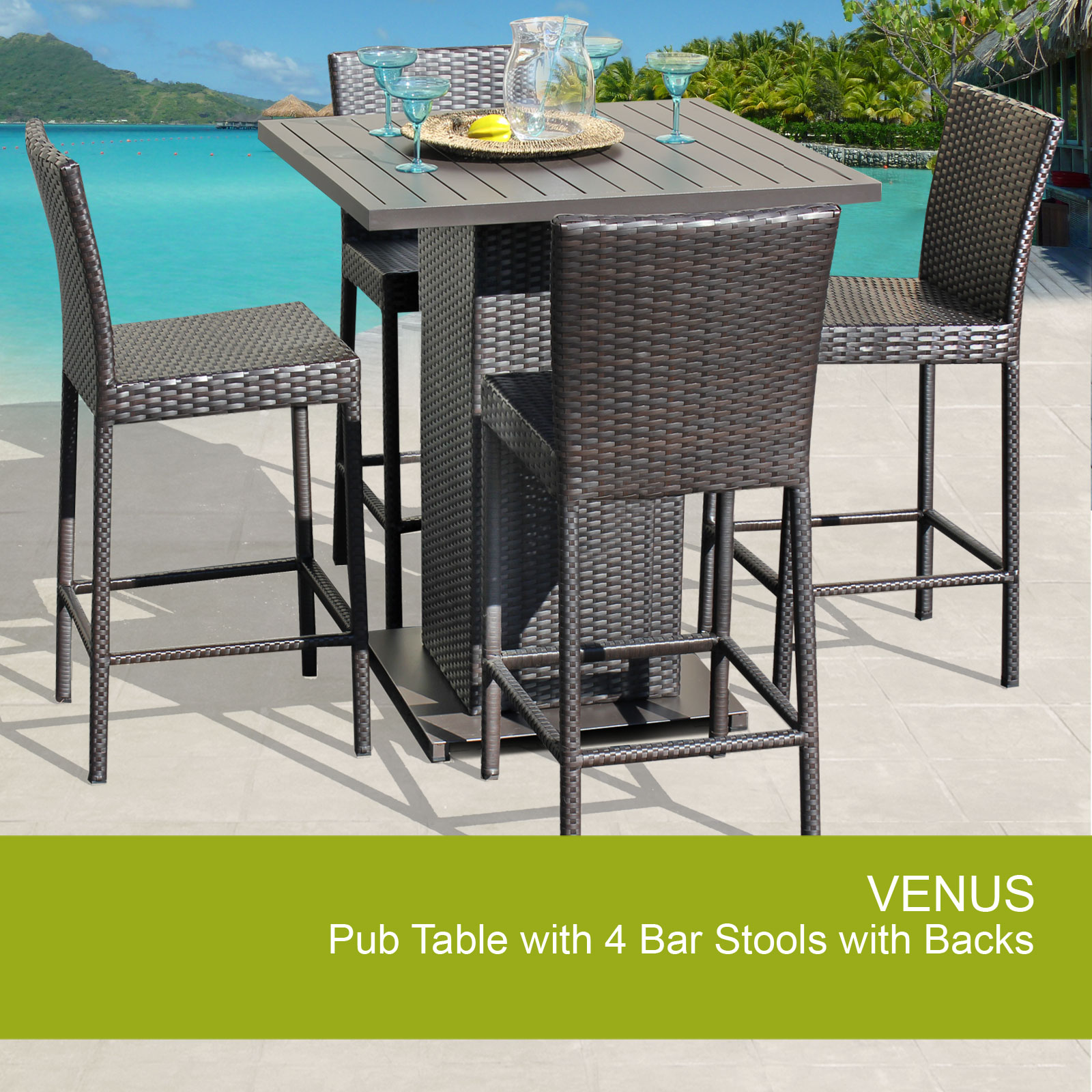 Venus Pub Table Set With Barstools 5 Piece Outdoor Wicker Patio Furniture    Walmart.com