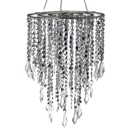 Hanging Beaded Chandelier with Icicle Crystals, Silver, 10-1/2-Inch (Beaded Chandelier)