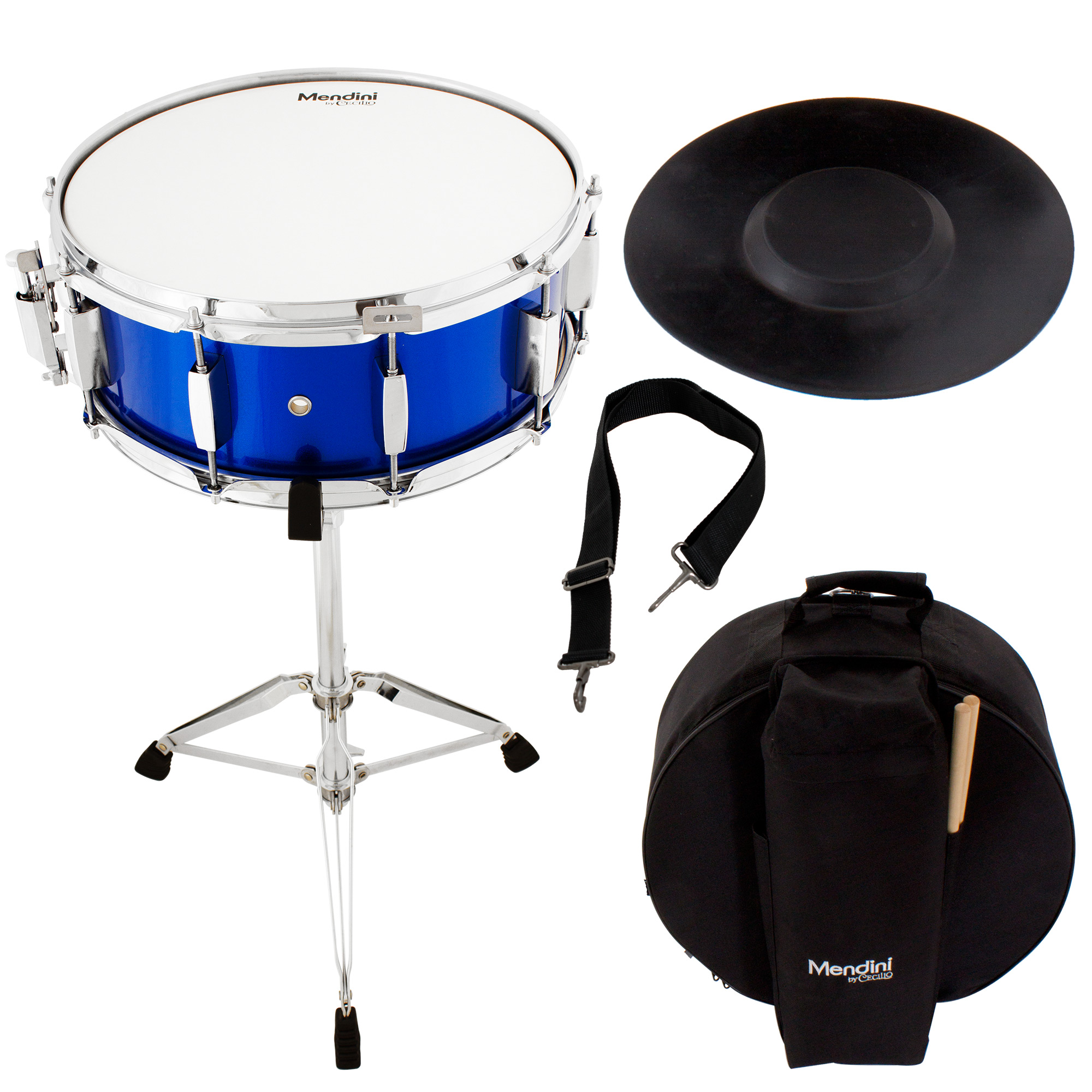 Mendini by Cecilio Student Snare Drum Set with Gig Bag, Sticks, Stand and Practice Pad Kit, Blue