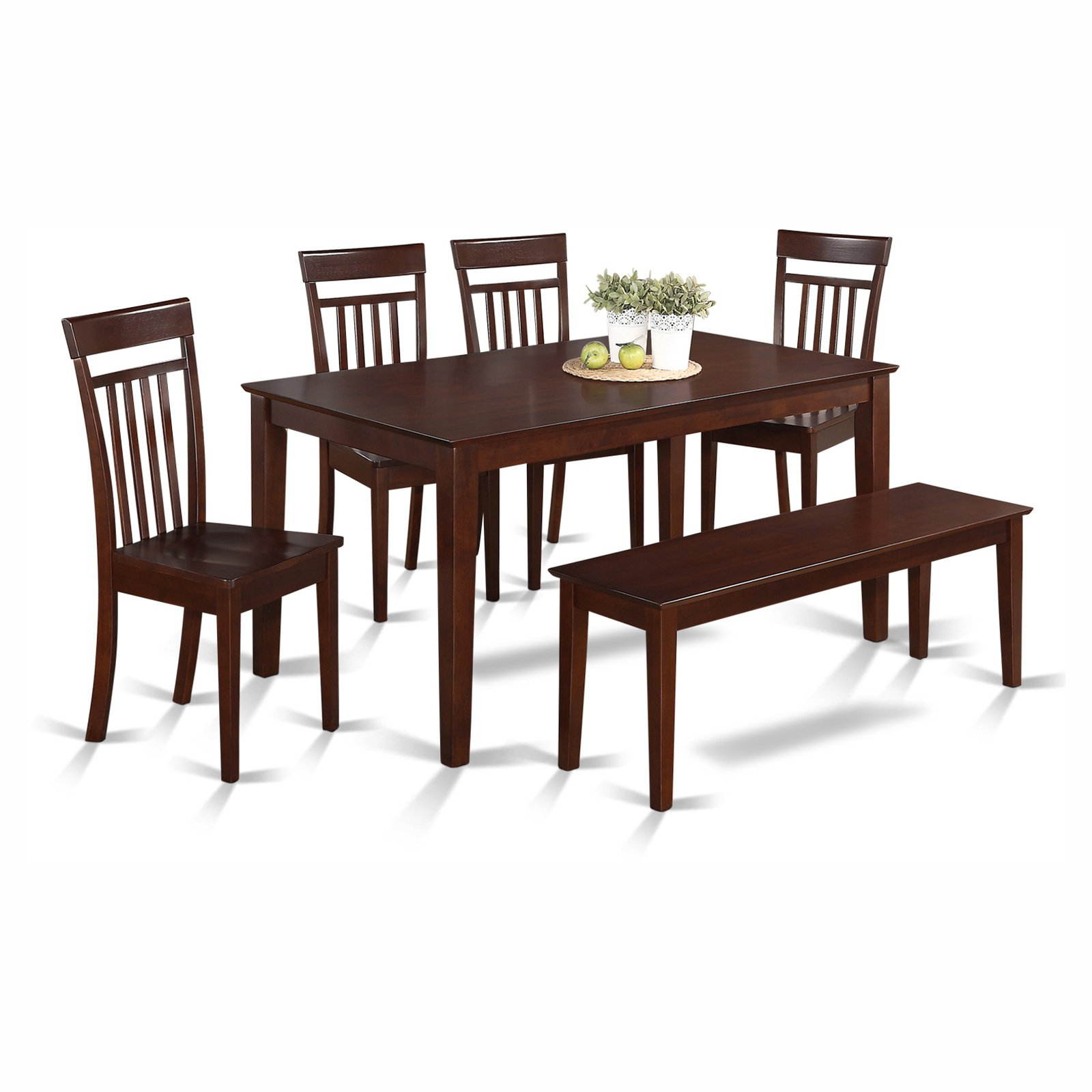 East West Furniture Capri 6 Piece Rectangular Dining Table Set with Wooden Seat Chairs