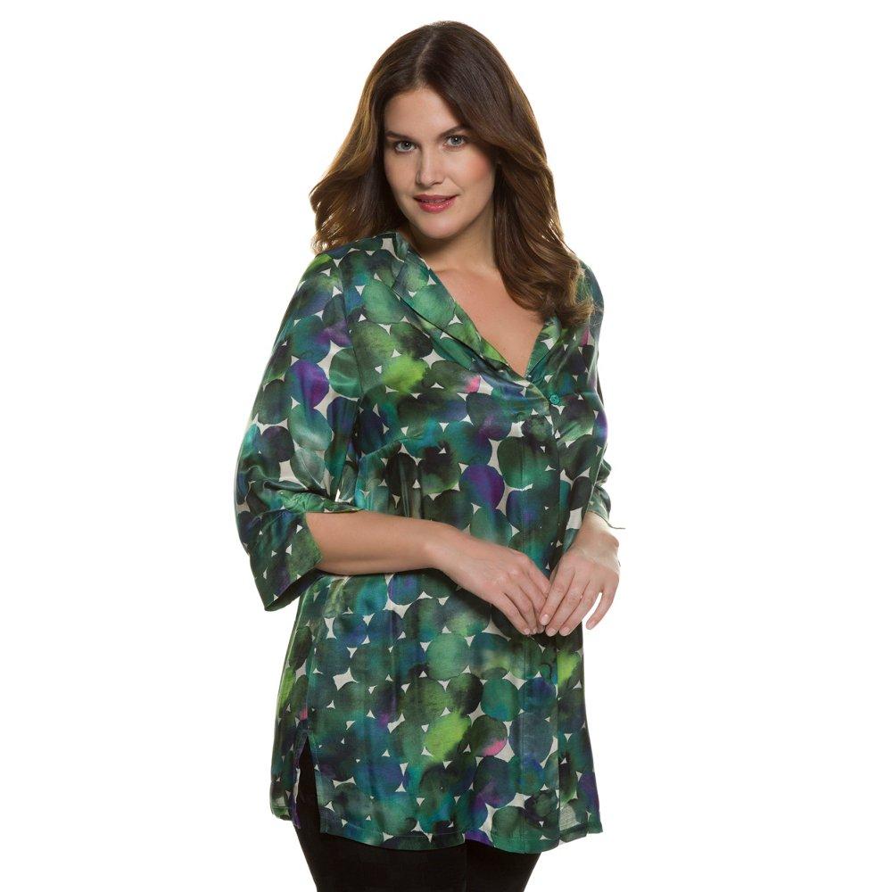 Ulla Popken Women's Plus Size Button Down Silk Blouse Dot...