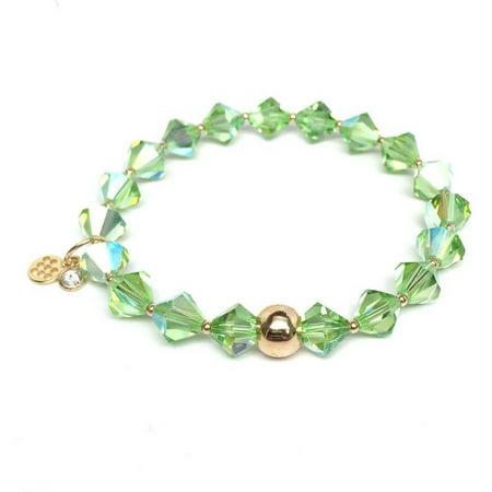 Light Green Swarovski Crystal Rachel 14kt Gold over Sterling Silver Stretch Bracelet, August Birthstone Color