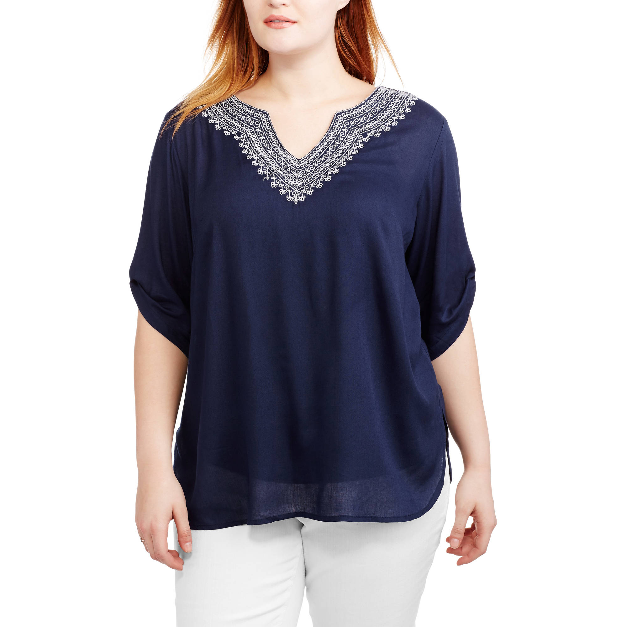 Women's Plus Embroidered Neckline 3/4 Roll Tab Sleeves Woven Shirt