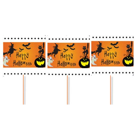 Happy Halloween Witch and Ghost Party Cupcake Picks -12pack - Happy Halloween Birthday Party