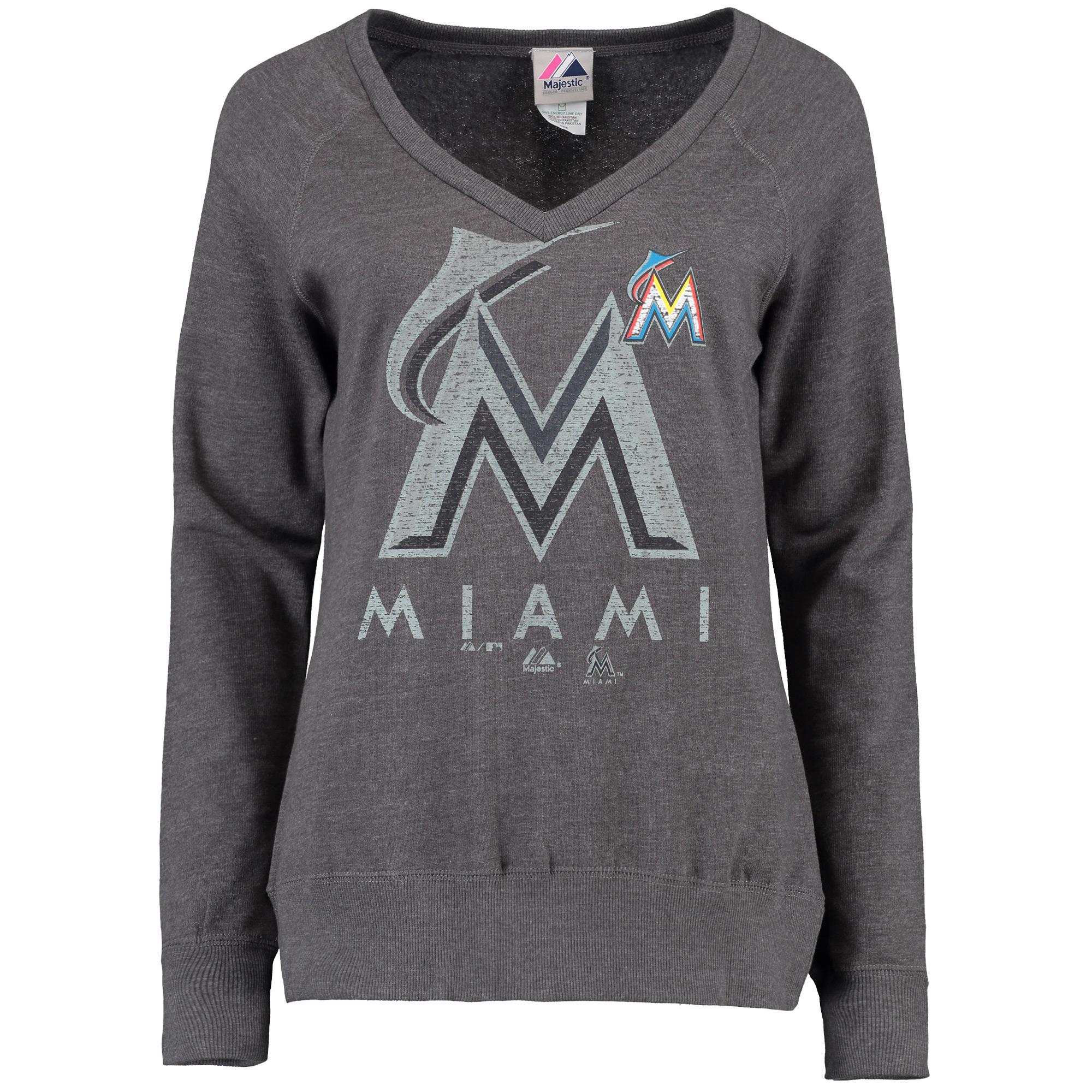Miami Marlins Majestic Women's Take Control Fleece Pullover Sweatshirt - Charcoal