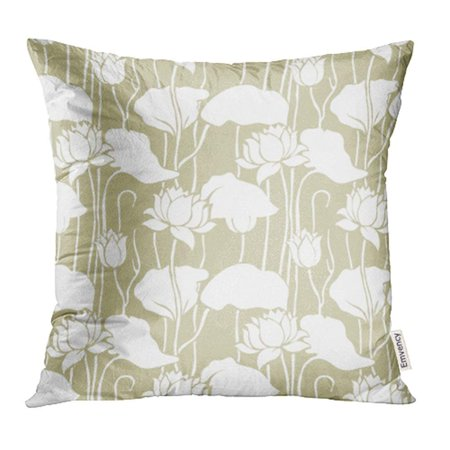 ARHOME Green Flower Floral Pattern Chinese Motifs Lily Japanese Pale Silhouette Flora Pillow Case Pillow Cover 16x16 inch Throw Pillow Covers