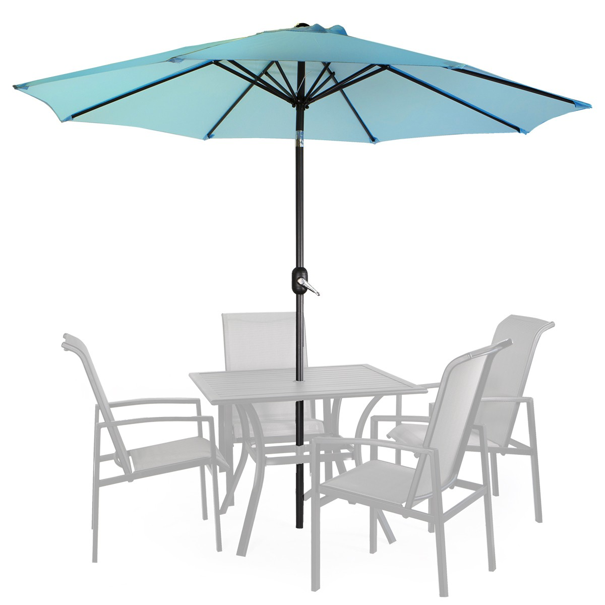 9' Patio Umbrella Round Sunshade Outdoor Canopy Tilt and Crank Blue by