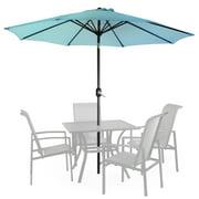 9' Patio Umbrella Round Sunshade Outdoor Canopy Tilt and Crank - Blue