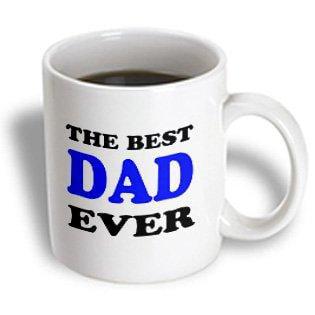 3dRose The best dad ever, Blue, Ceramic Mug,