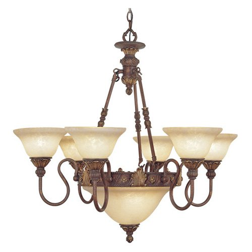 Livex Sovereign 8606-30 Chandelier - Crackled Greek Bronze with Aged Gold Accents - 31W in.