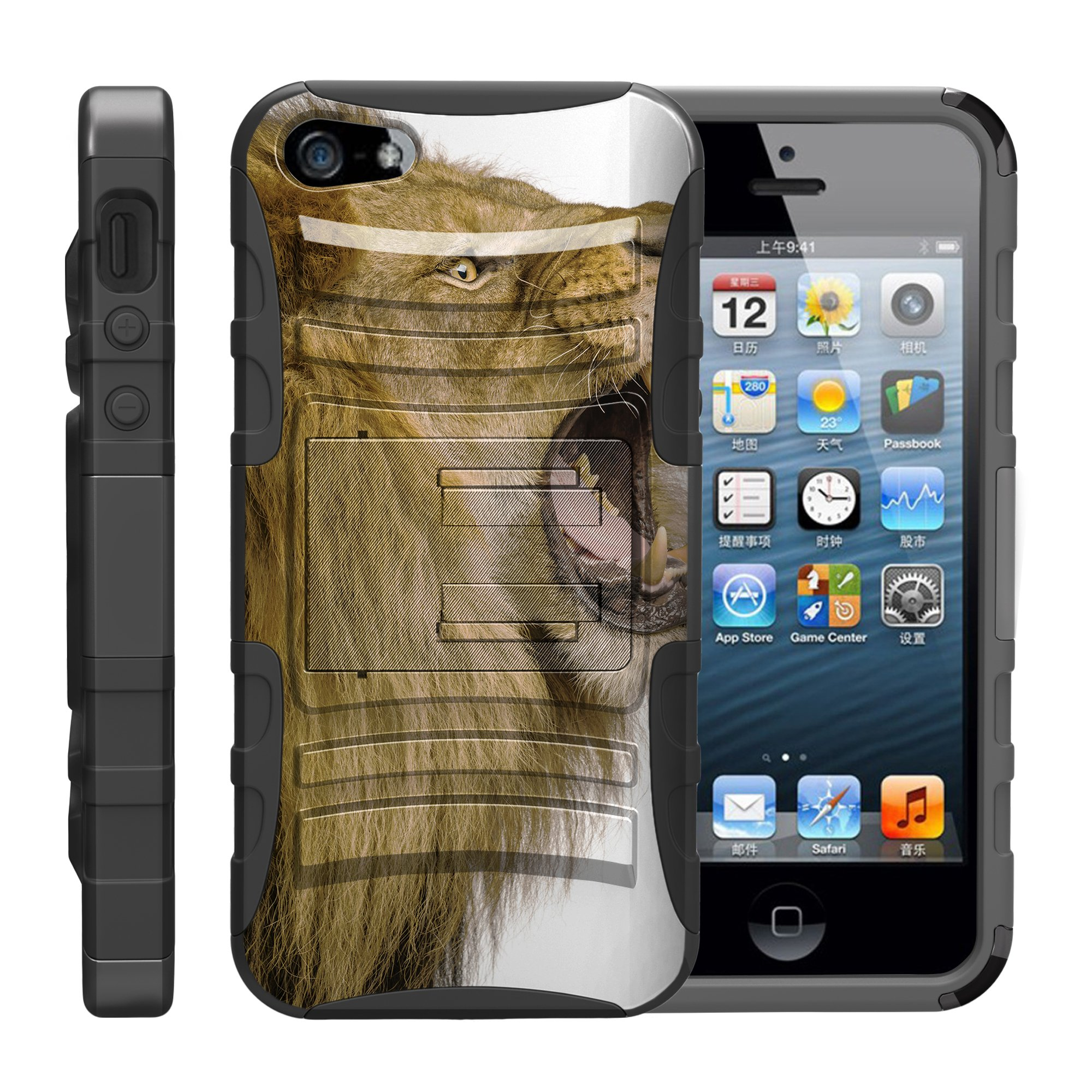 TurtleArmor ® | For Apple iPhone SE | iPhone 5 | iPhone 5s [Hyper Shock] Hybrid Dual Layer Armor Holster Belt Clip Case Kickstand - Roaring Lion
