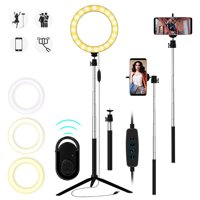 """Ring Light, 10""""/8""""/6"""" Led Ring Light w/Tripod Stand & Phone Holder for Live Stream/Make Up/YouTube, Selfie Ring Light, Desk Makeup Light, Dimmable 3 Light Modes & USB Powered, Fits for iPhone/Android"""