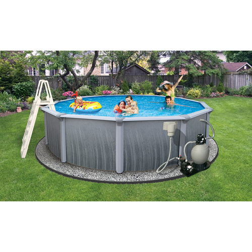 "Click here to buy Blue Wave Round 21' x 52"" Deep Martinique 7"" Top Rail Metal-Walled Swimming Pool by Blue Wave Products."