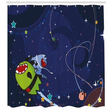 Space Cat Shower Curtain Cartoon Kittens Alien Creatures Stars Planets On Abstract Backdrop Fabric Bathroom Set With Hooks Green Brown And Dark Blue