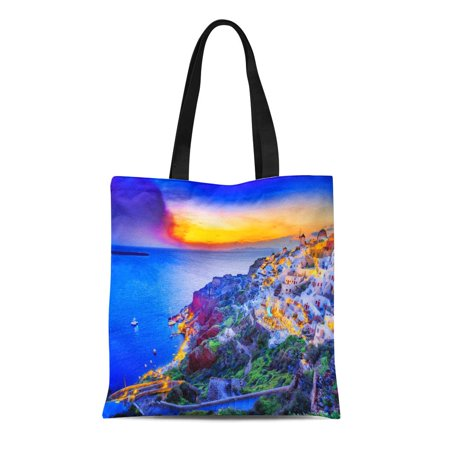 POGLIP Canvas Tote Bag Beautiful Santorini Sunset Scenery Traditional White Architecture Island Oia Durable Reusable Shopping Shoulder Grocery Bag - image 1 de 1