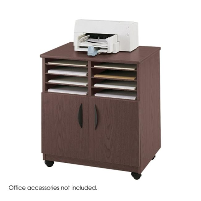 Safco 1851MH Mahogany Mobile Machine Stand with Sorter