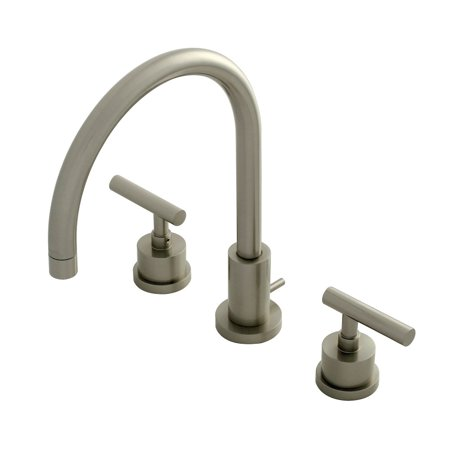 Kingston brass ks8928cml 8 inch widespread lavatory faucet - 8 inch brushed nickel bathroom faucet ...