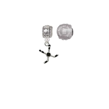 Hockey Sticks with Puck 26.2 Marathon Run She Believed She Could Charm Beads (Set of 2) (Marathon Stick)