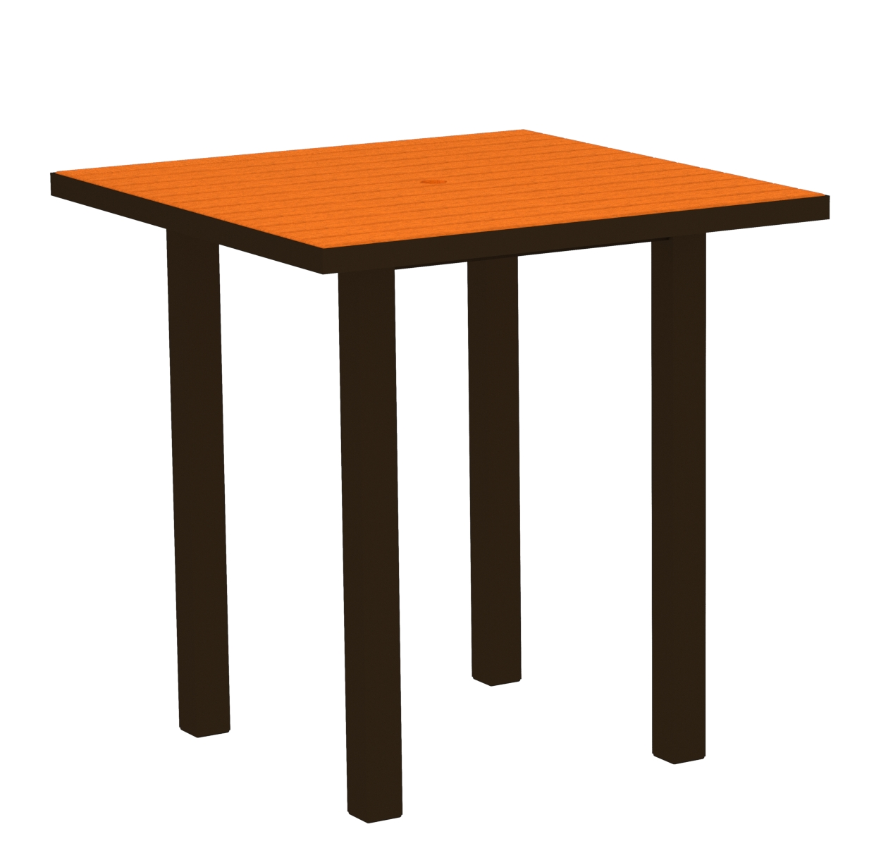 POLYWOOD ATR36-16TA Euro 36' Square Counter Table in Textured Bronze / Tangerine