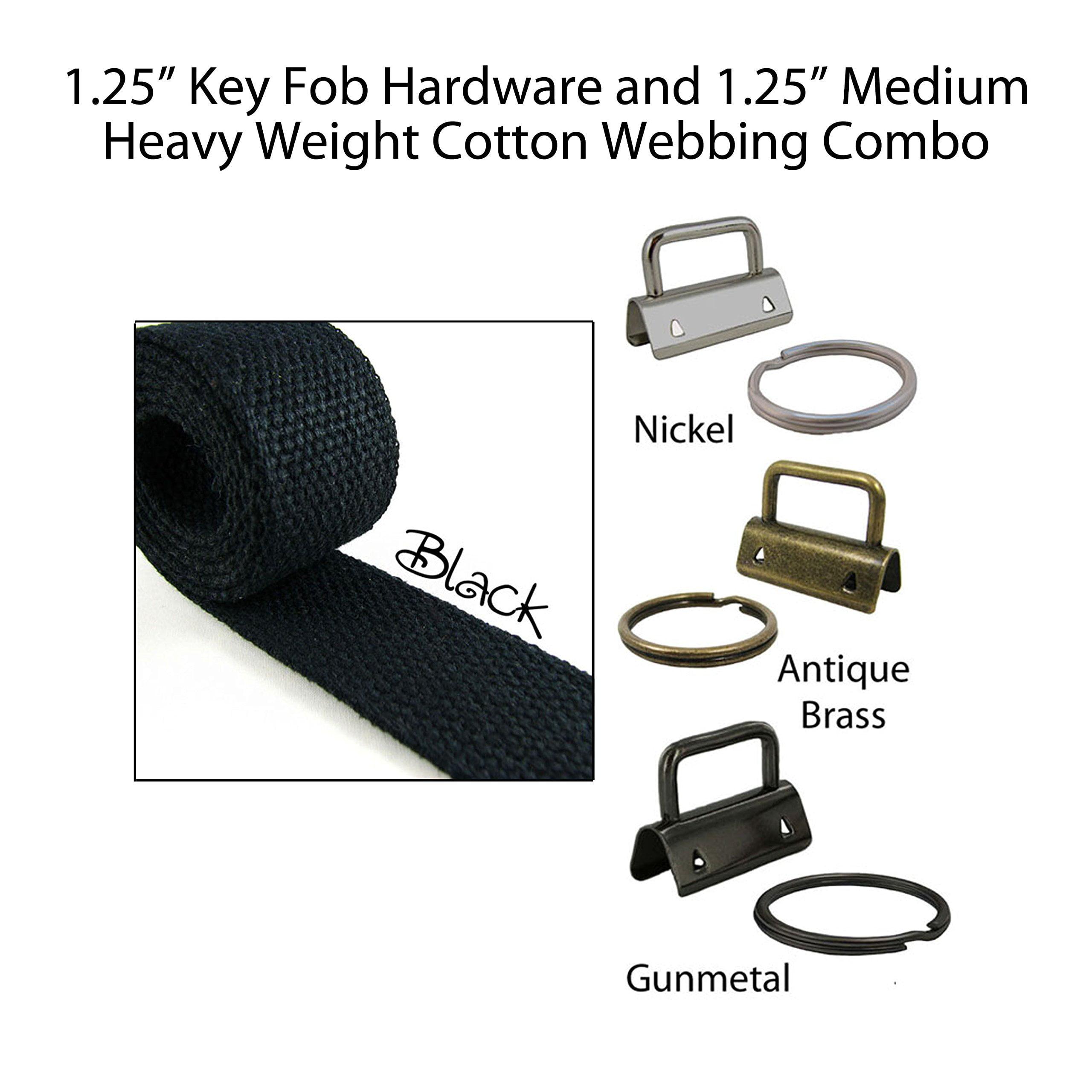 "1.25"" Key Fob Hardware and 1.25"" Cotton Webbing Combo - Black"