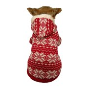 Red/White Pet Puppy Dog Clothes Xmas Snowflake Sweater Hoodie Winter Warm Apparel Coat Outwear