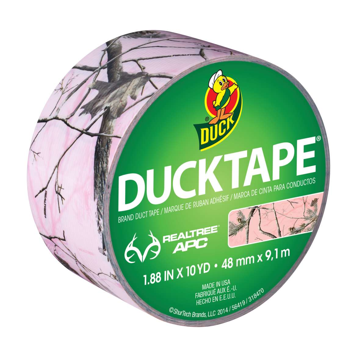 Realtree Camo Duck Tape Brand Duct Tape - Pink, 1.88 in. x 10 yd.