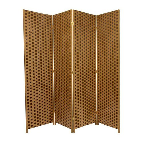 Oriental Furniture SSFIBER5 6-ft Tall Woven Fiber Room Divider - Two Tone Brown