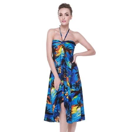 Hawaii Hangover Women's Hawaiian Butterfly Luau Dress in Sunset Blue - Sunset Dress