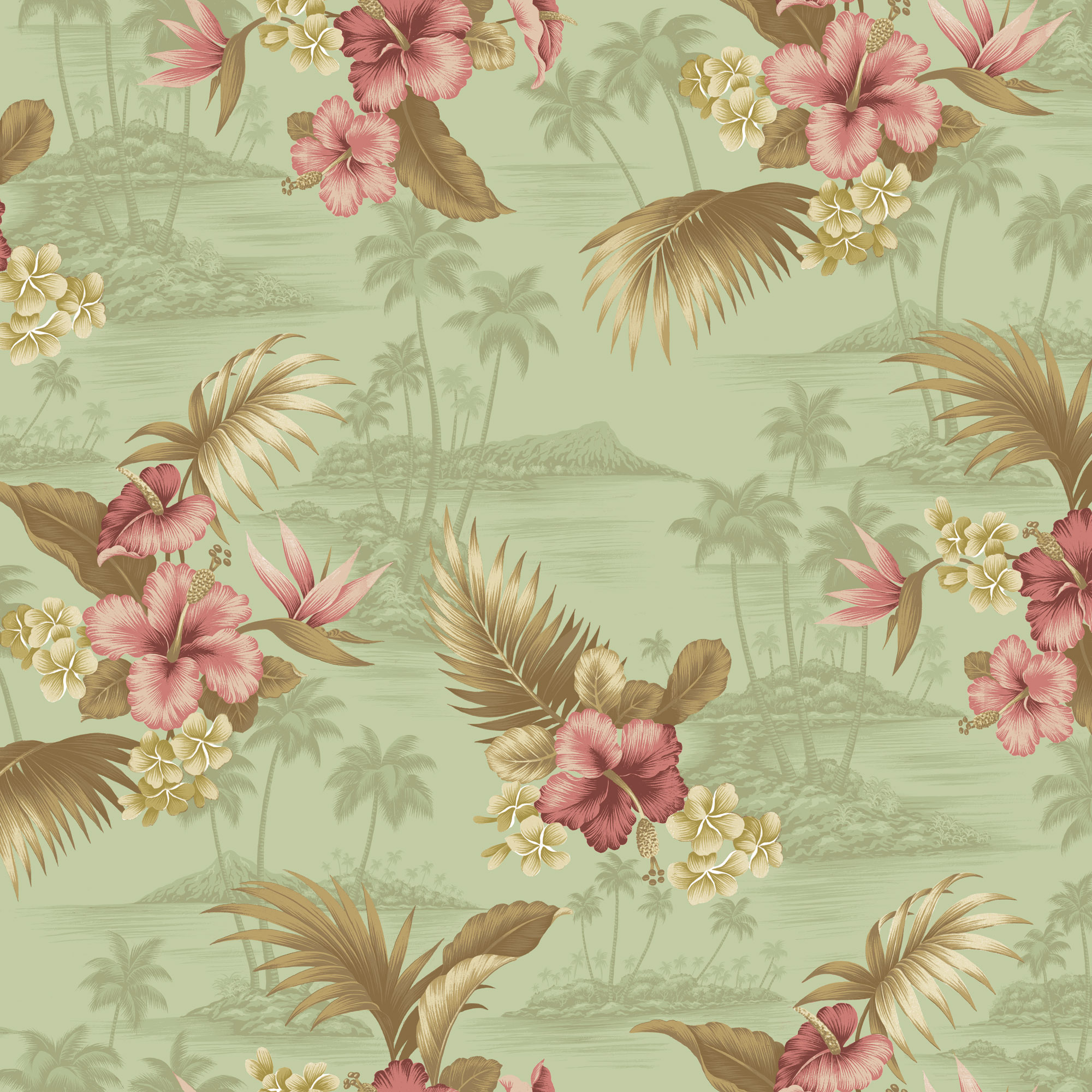 """David Textiles, Inc. SCENIC TROPICAL COTTON POPLIN FABRIC BY THE YARD 44"""" WIDE"""