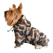 Brown Pet Dog Warm Camo Hoodie Sweatshirt Sweater Hoody Clothes - Extra Small (Holiday Christmas Gift for Pet)