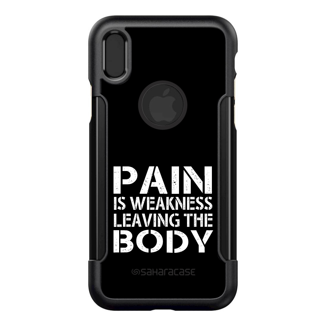 """SaharaCase iPhone X / XS (5.8"""" Screen) Black Shockproof Custom Case By DistinctInk - Protective Kit & ZeroDamage Screen Protector - Pain is Weakness Leaving the Body"""