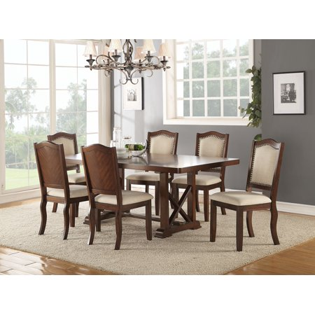 Dark Cherry Finish Dining Table Cream Faux Leather Chairs Kitchen Dining Room Furniture Unique 7pc Dining Set Formal Look Contemporary Furniture ()