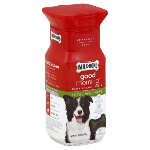 Milk-Bone Good Morning Daily Vitamin Dog Treats, Total Wellness - 6-Ounce Bottle