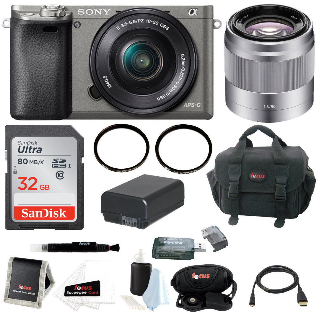 Sony Alpha A6000 Camera w/ 16-50mm & 50mm Lens Accessory Bundle (Graphite)