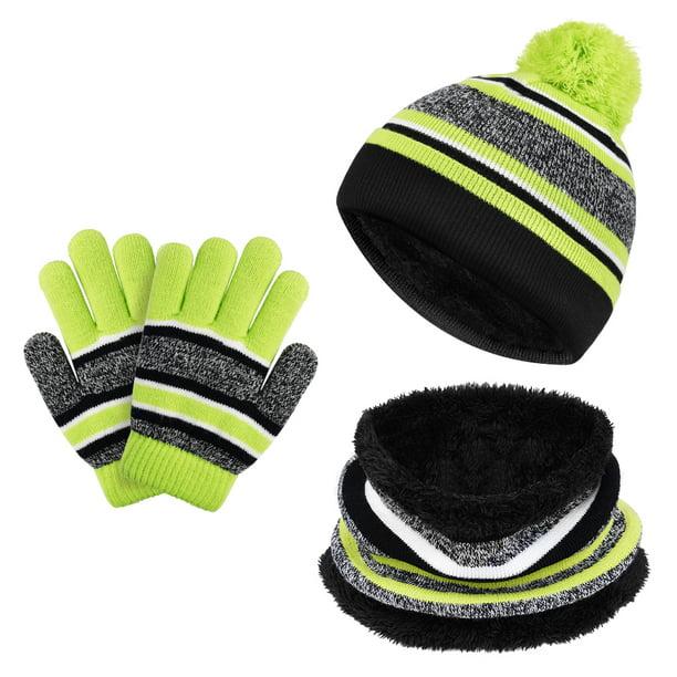 Winter Beanie Hat Mittens For Kids Boys Girls Warm Scarf Hat /& Gloves Set