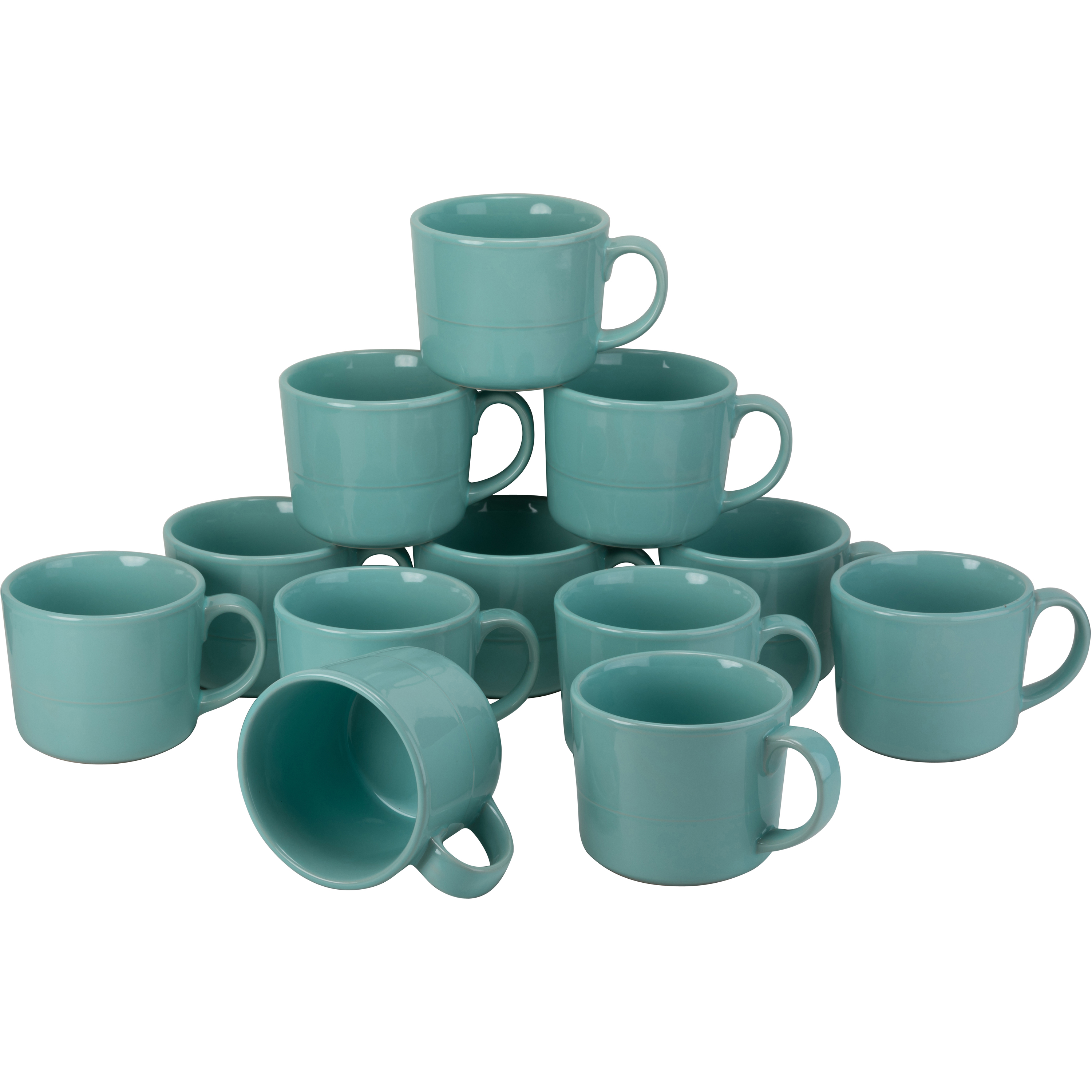 10 Strawberry Street Double Line Catering Pack, Set of 12 Gray Mugs12 oz by 10 Strawberry Street