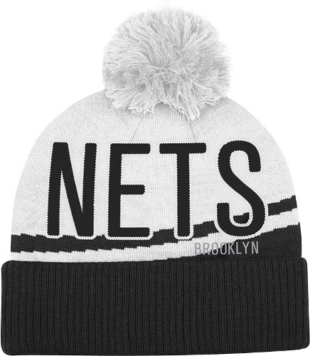 Brooklyn Nets Adidas NBA Jacquard Wordmark Cuffed Knit Hat w  Pom by Adidas